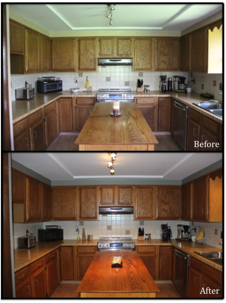 There's not much of a difference here except the change in wall color above the cabinets.